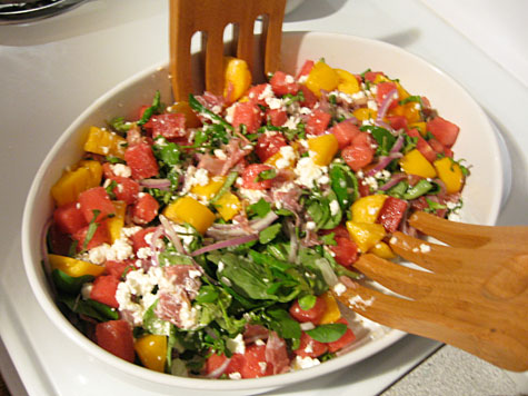 Watermelon, prosciutto, and feta salad